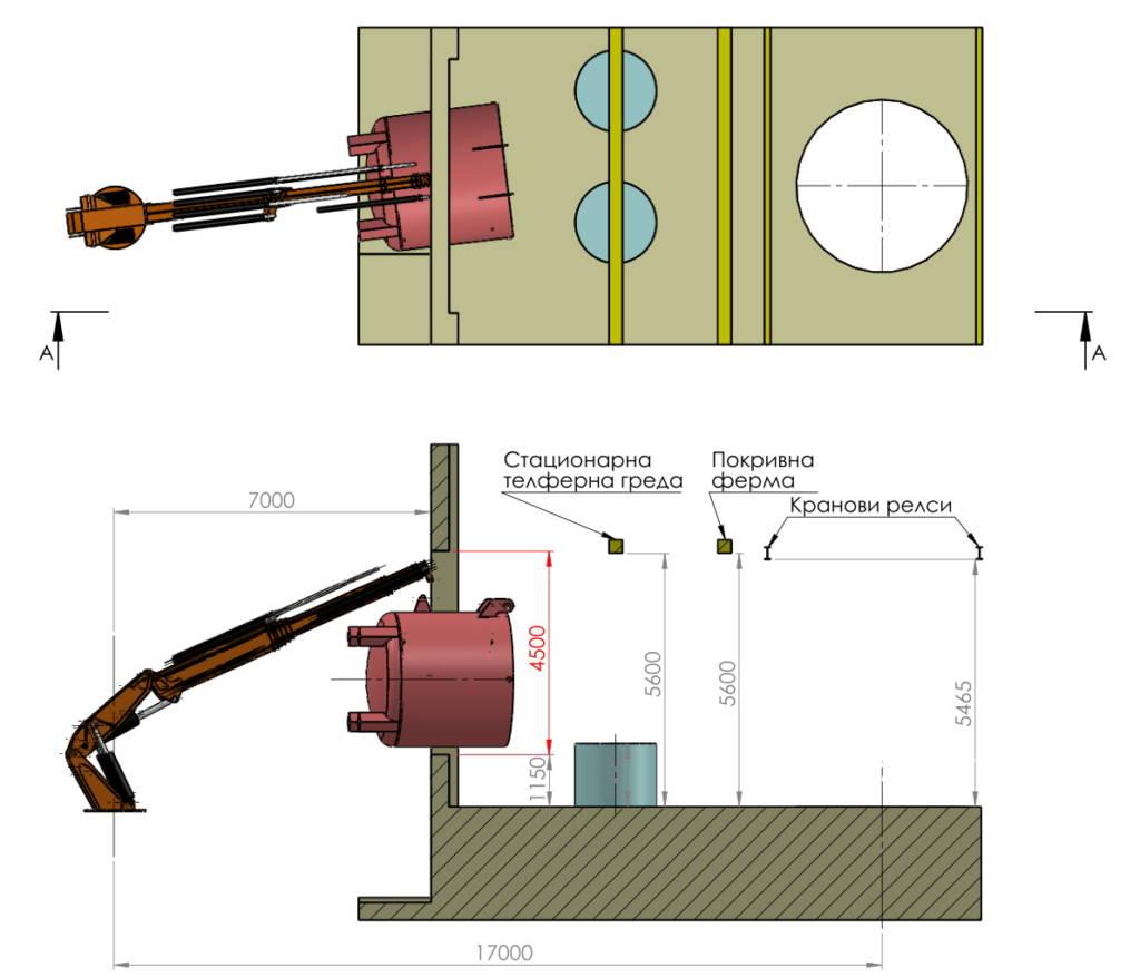 производствено оборудване през отвор в стената